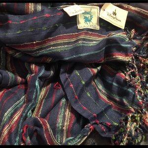 Karma Living Navy/colors, braided tassels, scarf